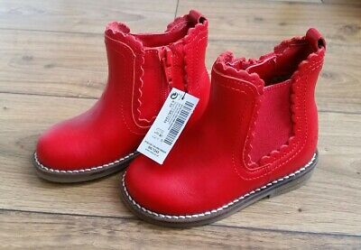 Next Girls Red Chelsea Ankle Shoe Boots Infant UK Size 6 New