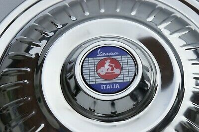 "VESPA Rally LVB GS VBB VBC 10"" Stainless Steel SPARE Wheel Cover Trim Red Scoot"