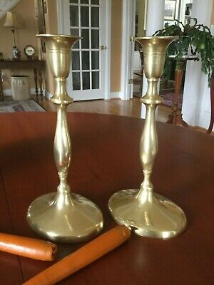 """Pair Heavy Antique Solid Brass Oval Candlesticks 9 ¾"""" Candle Holders"""