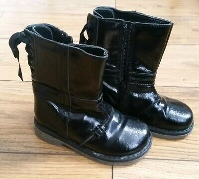 Next Girls Black Patent Boots Shoes Infant UK 6 - Great Condition