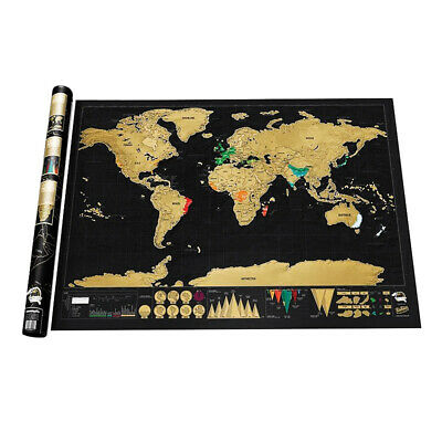 Deluxe Scratch Off World Map Edition Travel Gift Journal Poster Wall Decor 42*30