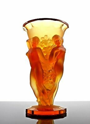 Glamorous French Art Deco Bohemian Amber Glass Nude Figural Vase