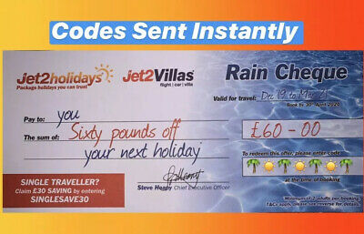 10 X Jet2Holidays £60 Rain Cheque voucher Promo Code. Use By June 2020