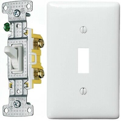 Standard Toggle Light Switch with Cover Plate Hubbell RS115W 15A 120V AC White