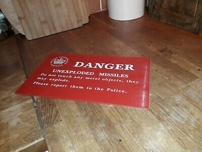 NATURE CONSERVANCY COUNCIL DANGER UNEXPLODED MISSILES RARE SIGN PLASTIC 12x7INCH