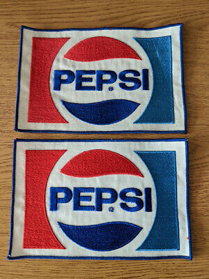 "L👀K   Pair of Large 9.25"" x 6.25"" Vintage Pepsi Patches, Never Been Sewn, Nice!"