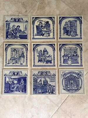 Lot of 9 Burroughs Wellcome Pharmacy Delft Pill Tile Set  1984-1993