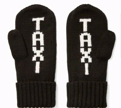 New Kate Spade Taxi Gloves Mittens Black White Womans one size Knit
