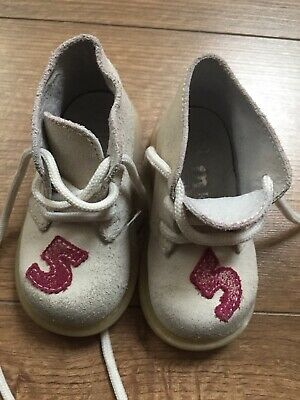 Melania Girls Numbers White Pink Suede Leather Shoes Size 20 Eu / 2 -3 Uk Infant