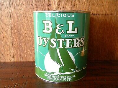 Vintage Gallon B & L Brand Oyster Tin Can ~ Princess Anne, Md ~ Md 281