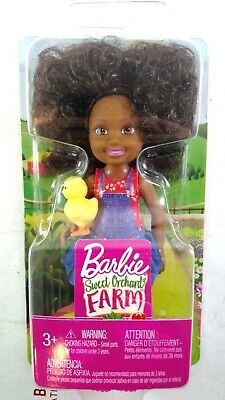 Barbie Sweet Orchard Farm Doll 2018 MATTEL Chelsea Curly Brunette with Chick NEW