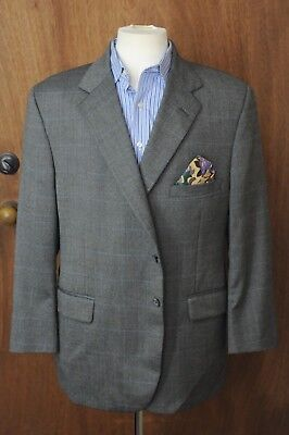 Tom James Men's Gray Blue Windowpane Wool Blazer Sport Coat 46R 46 Regular