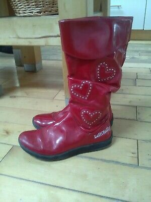 Girls UK size 1 eu 33 Lelli Kelly Christmas red leather knee high boots