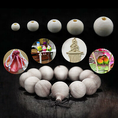 200pcs DIY Wood Beads with Hole for Making Necklace Bracelet Handicrafts