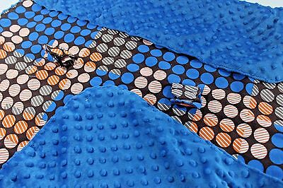 CARSEAT CANOPY Aiden Bright BLUE PLUSH Chocolate BROWN Dot Print Cotton Blanket