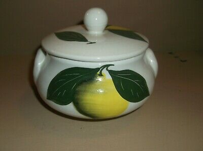 Hand painted Porcelain/Pottery lidded Pot Cyprus used VGC