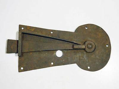 Very Large Original Old Wrought Iron Keyhole Plate Latch As Is Missing Part