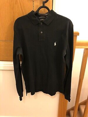 Mens Polo By Ralph Lauren Long Sleeve Polo Shirt Black