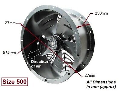 "Industrial Commercial Cased Axial Extractor Duct Fan 500mm (20"") New"