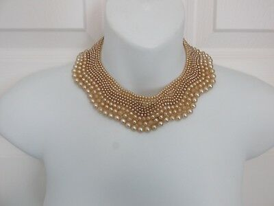 BAAR & BEARDS Vintage Collar Trim Japan Champagne Color Glass Pearls Choker