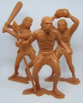 Set of (3) Vintage Louis Marx Plastic Caveman Figures MINT RARE
