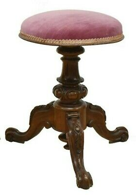 Antique Victorian Stool, Pink, Center Pedestal, 19th C., 1800s, Charming!!