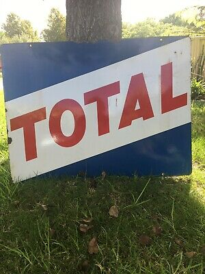 Genuine Double Sided Enamel Total Fuel Oil Sign Caltex BP Shell Esso Neptune