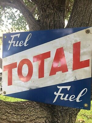 Old Total Fuel Enamel Sign Caltex Esso BP Neptune Shell