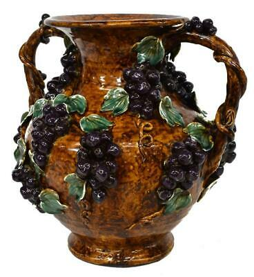 Antique Vase, French Palissy Style, Large, Majolica Handled, Grapes, 1800s!