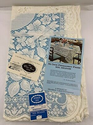 """Quaker Lace White House Natural Pattern 6280 Oblong Tablecloth 54"""" x 72"""" USA NEW"""