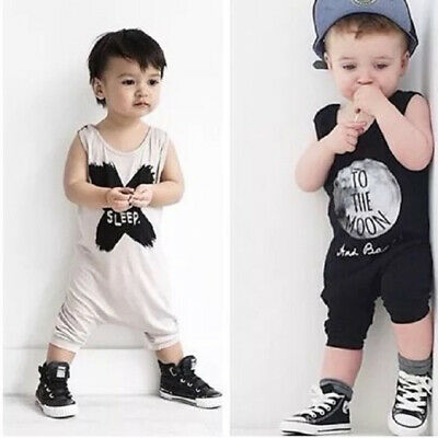 Kids Boy Infant Printed Sleeveless Round Neck Romper Overall Loungewear Jumpsuit