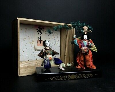 2 Antique NINGYO Japanese Doll SAMURAI Man and GEISHA Playing Drums