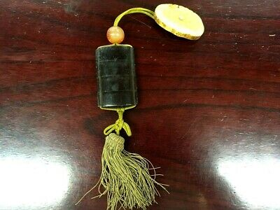 Antique Japanese wood lacquer pillbox Inro Netsuke Ojime traditional 4 sections