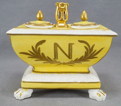 Antique French Sevres Style Napoleon Monogram & Bee Yellow Empire Style Inkwell