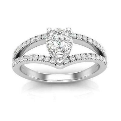 2.83 Ct Near White Pear Cut Engagement Ring Solid 10 K White Gold
