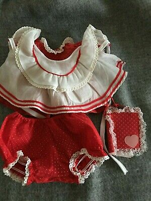 MATTEL MY CHILD DOLL ORIGINAL OUTFIT  red dress , apron , pants and book