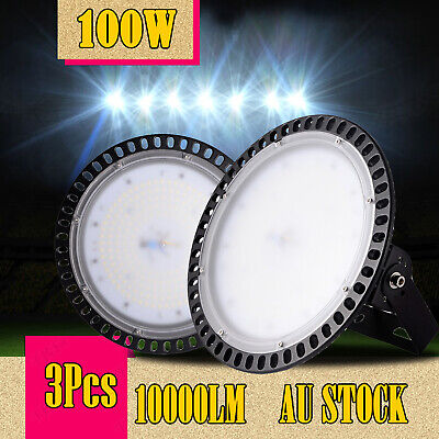 3X 100W Slim LED High Bay Light Fixture Warehouse Industrial Factory Shed Gym AU