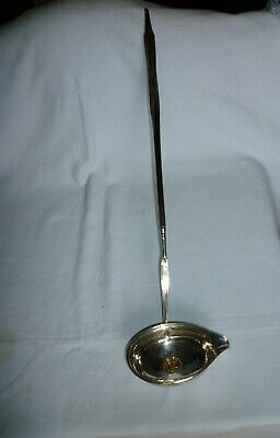 Unusual silver ladle, inset George 111 (1800) yellow metal coin - 1/3 guinea?