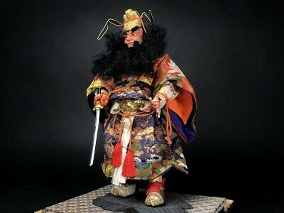 34cm Antique Demon Queller SHOKI SAMURAI Japanese MUSHA NINGYO Doll
