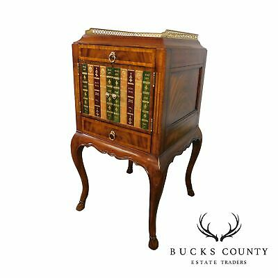 Maitland Smith Regency Mahogany Cellarette Side Table with Faux Leather Books