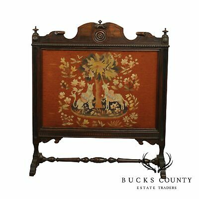 Jacobean Revival Style Vintage 1930's Walnut Needlepoint Fire Screen