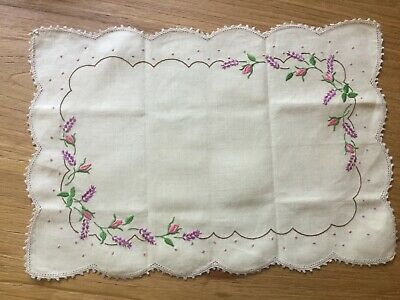 Vintage Hand embroidered Linen Doily - Rose buds and Lavender