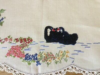 Vintage Hand embroidered Linen Doily - Black Swans and flowers