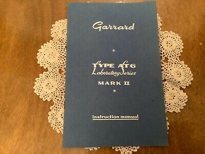 GARRARD AT6 LABORATORY SERIES TURNTABLE * INSTRUCTION MANUAL * 4 SPEED *booklet