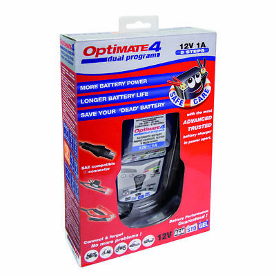 OptiMate 4 Dual Program Battery Charger    **FREE OPTIMATE O120 TESTER RRP £16**