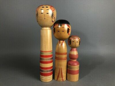3 Dolls KOKESHI Wood Nodder NINGYO Japanese Traditional