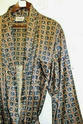 Men's Vintage Silky  Gold/Red Smoking Jacket - Dressing Gown - XL