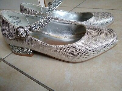 Girls Monsoon Silver Sparkly Shoes Small Glittery Heel Party shoes Size 13