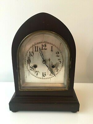 Antique Striking Lancet Mantle Clock Working Order