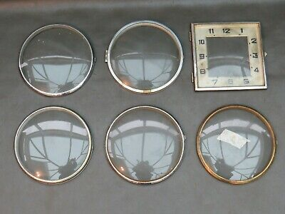 Job lot of 6 vintage clock front doors with glass - spares and parts